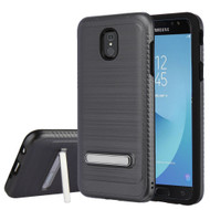 Brushed Multi-Layer Hybrid Armor Case with Kickstand for Samsung Galaxy J7 (2018) - Grey
