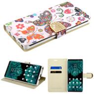 Luxury Bling Portfolio Leather Wallet Case for Samsung Galaxy Note 9 - Butterfly Wonderland