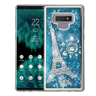 Electroplating Quicksand Glitter Transparent Case for Samsung Galaxy Note 9 - Eiffel Tower Silver