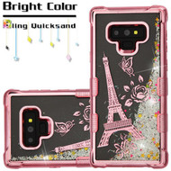 Tuff Lite Quicksand Electroplating Case for Samsung Galaxy Note 9 - Eiffel Tower Rose Gold