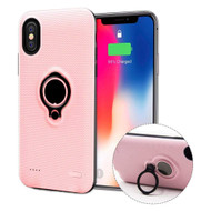 Smart Power Bank Battery Charger Case 5000mAh with Ring Holder for iPhone XS / X - Pink