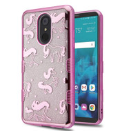 Electroplating Quicksand Glitter Transparent Case for LG Stylo 4 - Pink Unicorn