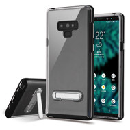Bumper Shield Clear Transparent TPU Case with Magnetic Kickstand for Samsung Galaxy Note 9 - Black