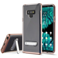 Bumper Shield Clear Transparent TPU Case with Magnetic Kickstand for Samsung Galaxy Note 9 - Rose Gold