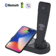 2-IN-1 Intelligent Qi Charging Pad Wireless Charger with Bluetooth Wireless Handset - Black