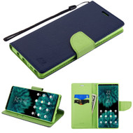 Diary Leather Wallet Stand Case for Samsung Galaxy Note 9 - Navy Blue Green