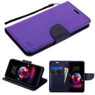 Diary Leather Wallet Case for LG K30 - Purple Navy Blue