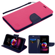 Diary Leather Wallet Case for LG K30 - Hot Pink Navy Blue