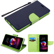 Diary Leather Wallet Case for LG K30 - Navy Blue Green