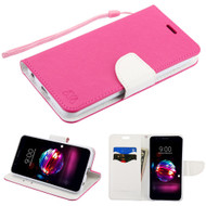 Diary Leather Wallet Case for LG K30 - Hot Pink White