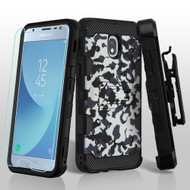 Military Grade Certified Storm Tank Hybrid Case + Holster + Tempered Glass for Samsung Galaxy J3 (2018) - Camouflage