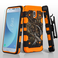 Military Grade Certified Storm Tank Hybrid Case + Holster + Tempered Glass for Samsung Galaxy J3 (2018) - Tree Camouflage Orange