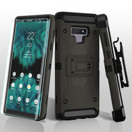 3-IN-1 Kinetic Hybrid Armor Case with Holster and Screen Protector for Samsung Galaxy Note 9 - Grey