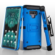 3-IN-1 Kinetic Hybrid Armor Case with Holster and Screen Protector for Samsung Galaxy Note 9 - Blue