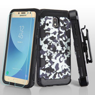 Military Grade Certified Storm Tank Hybrid Case + Holster + Tempered Glass for Samsung Galaxy J7 (2018) - Camouflage