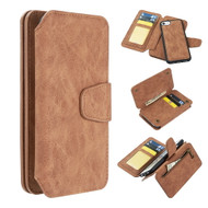 3-IN-1 Luxury Coach Series Leather Wallet with Detachable Magnetic Case for iPhone 8 / 7 / 6S / 6 - Brown
