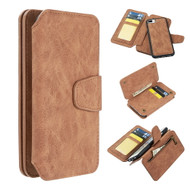 3-IN-1 Luxury Coach Series Leather Wallet with Detachable Magnetic Case for iPhone 8 Plus / 7 Plus / 6S Plus / 6 Plus - Brown