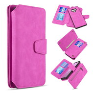 3-IN-1 Luxury Coach Series Leather Wallet with Detachable Magnetic Case for Samsung Galaxy Note 9 - Hot Pink