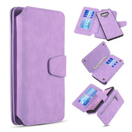 3-IN-1 Luxury Coach Series Leather Wallet with Detachable Magnetic Case for Samsung Galaxy Note 9 - Lavender