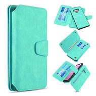 3-IN-1 Luxury Coach Series Leather Wallet with Detachable Magnetic Case for Samsung Galaxy Note 9 - Teal Green