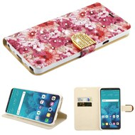 Luxury Bling Portfolio Leather Wallet Case for LG Stylo 4 - Summer Blossom