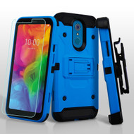 3-IN-1 Kinetic Hybrid Armor Case with Holster and Tempered Glass Screen Protector for LG Q7 Plus - Blue