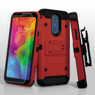 3-IN-1 Kinetic Hybrid Armor Case with Holster and Tempered Glass Screen Protector for LG Q7 Plus - Red