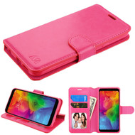 Book-Style Leather Folio Case for LG Q7 Plus - Hot Pink