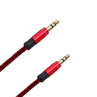 Mesh 3.5mm Auxiliary AUX Audio Cable - 5 Ft. Red
