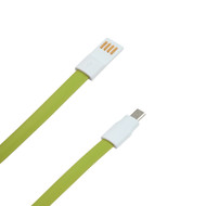 Micro USB Data Sync and Charging Tangle-Free Flat Cable -  4ft. Green
