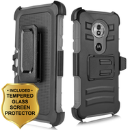 Advanced Armor Hybrid Stand Case + Holster + Tempered Glass Screen Protector for Motorola Moto G6 Play / G6 Forge - Grey