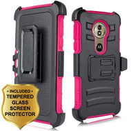 Advanced Armor Hybrid Case + Holster + Tempered Glass Screen Protector for Motorola Moto G6 Play / G6 Forge - Hot Pink
