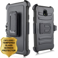 Advanced Armor Hybrid Kickstand Case + Holster + Tempered Glass Screen Protector for Samsung Galaxy J7 (2018) - Black
