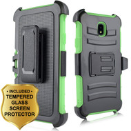 Advanced Armor Hybrid Kickstand Case + Holster + Tempered Glass Screen Protector for Samsung Galaxy J7 (2018) - Green