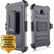 Advanced Armor Hybrid Kickstand Case + Holster + Tempered Glass Screen Protector for Samsung Galaxy J7 (2018) - Grey