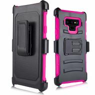 Advanced Armor Hybrid Kickstand Case with Holster for Samsung Galaxy Note 9 - Hot Pink
