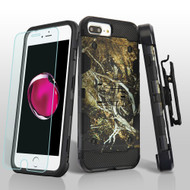 Military Grade Storm Tank Case + Holster + Tempered Glass for iPhone 8 Plus / 7 Plus / 6S Plus / 6 Plus - Tree Camouflage