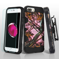 Military Grade Storm Tank Case + Holster + Tempered Glass for iPhone 8 Plus / 7 Plus / 6S Plus / 6 Plus - Pink Oak Hunting Camouflage