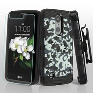 Military Grade Storm Tank Hybrid Case + Holster + Tempered Glass for LG Aristo 2 / Fortune 2 / K8 (2018) / Tribute Dynasty / Zone 4 - Camouflage