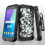 Military Grade Storm Tank Hybrid Case + Holster + Tempered Glass for Samsung Galaxy J3 (2017) / J3 Emerge - Camouflage
