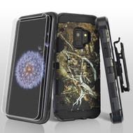 Military Grade Certified Storm Tank Case + Holster + Screen Protector for Samsung Galaxy S9 - Tree Camouflage