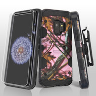 Military Grade Certified Storm Tank Case + Holster + Screen Protector for Samsung Galaxy S9 - Pink Oak Hunting Camouflage