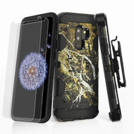 Military Grade Storm Tank Hybrid Case + Holster + Screen Protector for Samsung Galaxy S9 Plus - Tree Camouflage