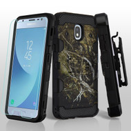 Military Grade Storm Tank Hybrid Case + Holster + Tempered Glass for Samsung Galaxy J3 (2018) - Tree Camouflage