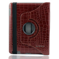 Smart Rotary Leather Case for iPad 2, iPad 3 and iPad 4th Generation - Crocodile Brown