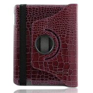 Smart Rotary Leather Case for iPad 2, iPad 3 and iPad 4th Generation - Crocodile Purple