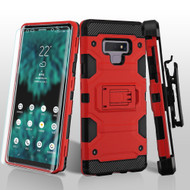 Military Grade Certified Storm Tank Hybrid Case with Holster and Screen Protector for Samsung Galaxy Note 9 - Red