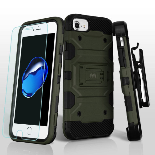 Military Grade Storm Tank Hybrid Case + Holster + Tempered Glass Screen Protector for iPhone 8 / 7 / 6S / 6 - Green