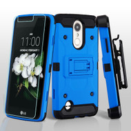 3-IN-1 Kinetic Case + Holster + Tempered Glass for LG Aristo 2 / Fortune 2 / K8 (2018) / Tribute Dynasty - Blue