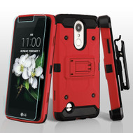 3-IN-1 Kinetic Case + Holster + Tempered Glass for LG Aristo 2 / Fortune 2 / K8 (2018) / Tribute Dynasty - Red